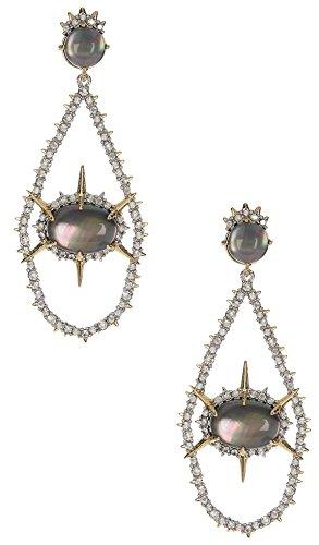 Alexis Bittar Gold Labradorite Crystal Extra Long Teardrop Earrings