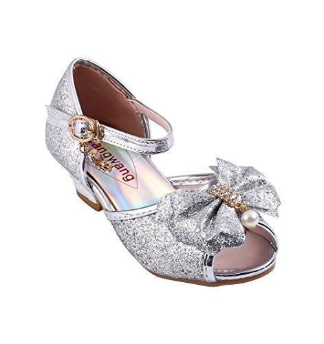 Wangwang Children Princess Girls Sequin Sandals crystal High Heels Shoes (10.5 M US Little Kid, Silver)]()