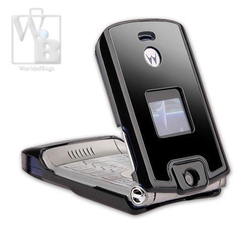 Motorola Moto Razr V3 V3C Crystal Hard Plastic Cell Phone Case - Black