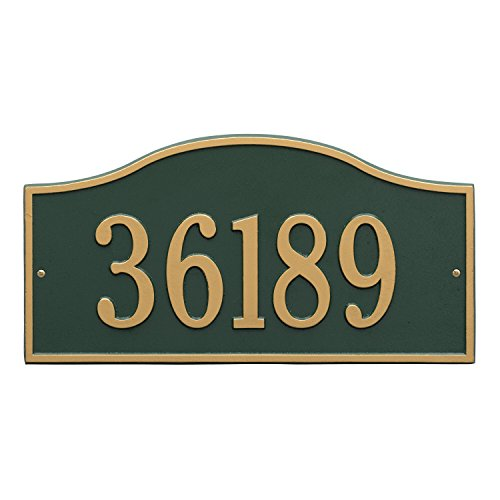 Whitehall Products Rolling Hills Rectangular Green/Gold Grande Wall One Line Address Plaque
