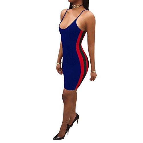 Bodycon Blue 3230 Strap Women Lkous Spaghetti Sexy Dress Mini xfCOTR