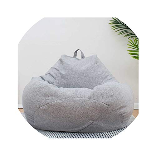Lazy BeanBag Sofas Cover Chairs Without Filler Linen Cloth Lounger Seat Bean Bag Pouf Puff Couch Tatami Living Room Furniture,Light Gray S