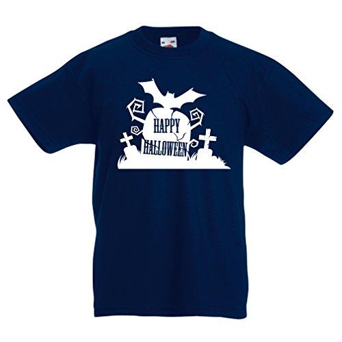 lepni.me Kids Boys/Girls T-Shirt Halloween Graveyard Outfits - Costume Ideas - Cool Horror Design - All Saints' Eve - All Hallows' Evening (12-13 Years Dark Blue Multi (Halloween Costume Ideas For Girls Age 13)