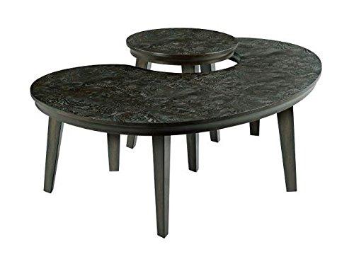 Hammary 2-Pc Kidney Shape Nesting Table Set in Dark Stain Finish