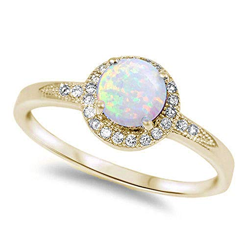 - Oxford Diamond Co 1.25ct Halo Set Solitaire Cubic Zirconia & Simulated Gemstone Promise Engagement Ring .925 Sterling Silver Ring Sizes 3-12 Colors Available (Yellow Gold Plated White Opal, 6)