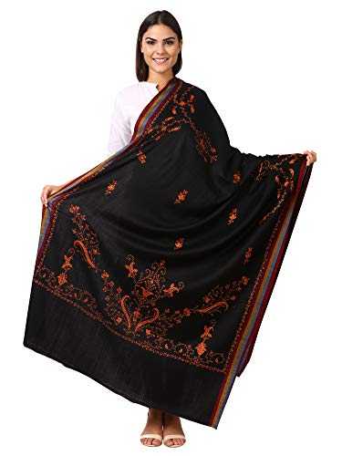 Pashtush Women's Wool Shawl with Kashmiri Hand Embroidery, warm and 100% hand-made (Black)