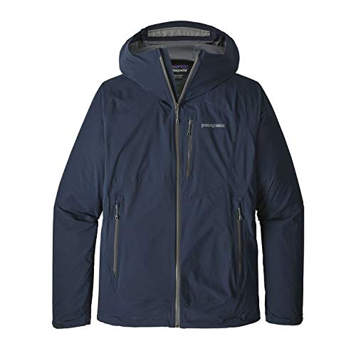 - Patagonia Men's Stretch Rainshadow Packable Rain Jacket Navy Blue Forge Grey (Large)