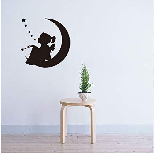 wuyyii Luna Nueva Estrellas Niña para Habitaciones De Niños Arte De Fondo Pegatinas De Pared Decoración para El Hogar Sala De Estar Mural Tatuajes De Vinilo Tallado 57X57 cm