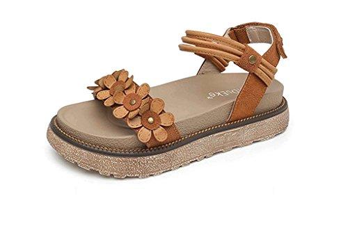 HJHY Sexy Sandalias, Zapatos de Plataforma de Verano Versión Coreana Zapatos de Mujer de Fondo Grueso Zapatos Romanos de época Sandalias con Punta Abierta (Color : #2, Tamaño : 38)