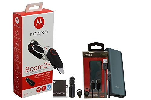 """Motorola Boom 2+ Plus """"HD"""" Flip Bluetooth - Water Resistant Durable Wireless Headset W/Car Charger, Battery Pack/Extra Micro USB Cable (US Retail Packing)"""