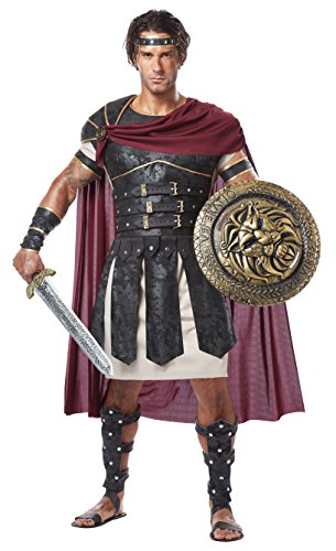 Greece Costume Male (California Costumes Men's Adult Roman Gladiator Costume with Sword and Shield, Black/Burgundy, Large)