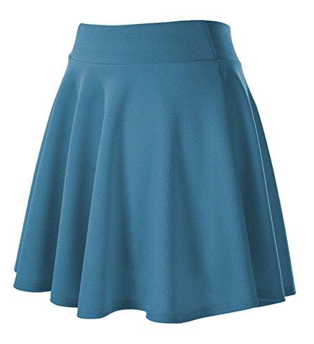 Fille Elastique Rtro Court GoCo Plisse Jupe Midi Jupe Bleu Urban Basique Acier Femmes Patineuse 4a0yS
