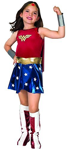 Children's Wonder Woman Costume Uk (Rubies Deluxe Wonder Woman - Childrens Fancy Dress Costume - Medium - 132cm - Ages 5-7 by Rubies)