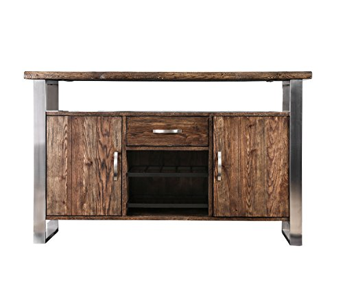 HOMES: Inside + Out IDF-3451A-SV Desair Server Table, Oak - Finish: Oak Material: solid wood, wood veneer, Steel Rustic style - sideboards-buffets, kitchen-dining-room-furniture, kitchen-dining-room - 41efkxmrssL -