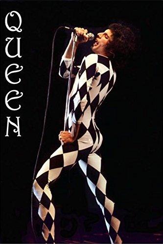 Buyartforless Queen Freddie Mercury Harlequin Outfit 36x24 Music Art Print Poster Stage Costume