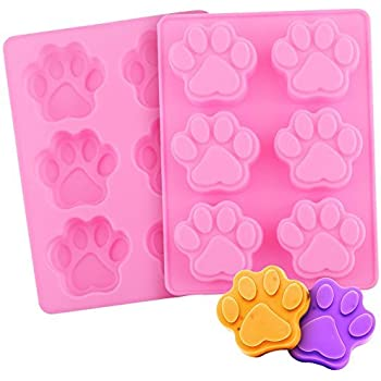 Dog Paws Mold | 2pcs Adorable Paw-shaped 6 Cavities Baking Mold | Nonstick, Nontoxic, and Heat Resistant Soft Silicone Dishwasher Safe | Brilliant for Cake, Pudding, Chocolate, Jelly | Pink | 737.2