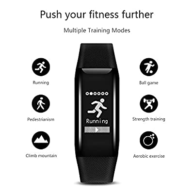 Fitness Tracker,LINRK Wireless Activity Tracker with Heart Rate Monitor,IP67 Waterproof Smart Bracelet with Pedometer Watch Calorie Counter Step Tracker Sleep Monitor for Android and IOS