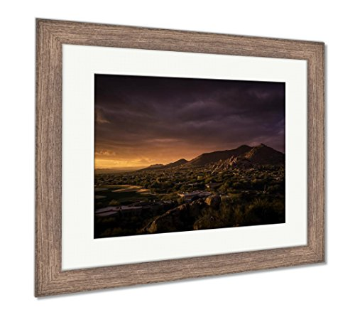 (Ashley Framed Prints Glowing Desert Landscape Phoenixscottsdalearizona, Wall Art Home Decoration, Color, 30x35 (Frame Size), Rustic Barn Wood Frame, AG6124054)