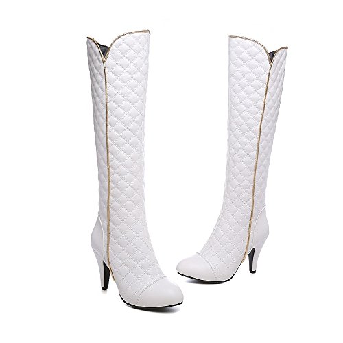 High White AgooLar Toe top Women's Solid Boots PU High Pointed Heels Closed wqfPaxZIq