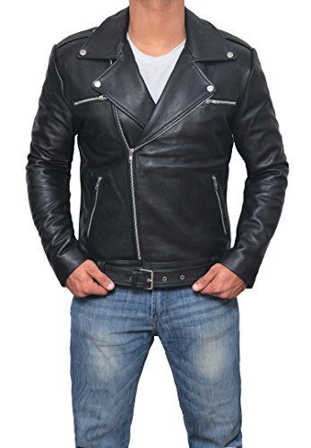 BlingSoul Authentic Real Leather Jackets - Mens Designers Stylish Jacket (Black - Negan Jacket, S)