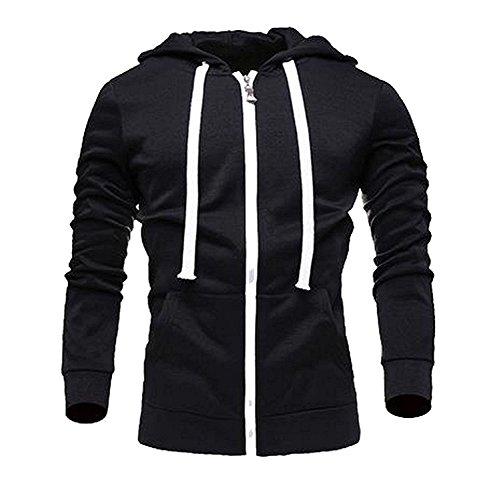 Freezing Fashion Mens Wild Lightweight Pocket Various Color Zip-up Hoodie BlackChina 3XL/US XL