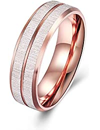 6mm Tungsten Rose Gold Carbide Wedding Band Ring Grooved Center High Polish Comfort Fit