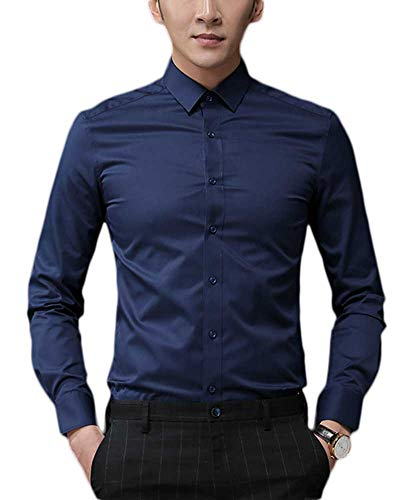 Plaid&Plain Men's Slim Fit Dress Shirts Spread Collar Poplin Shirt Wrinkle Free Shirts 5618-A Navy Blue L