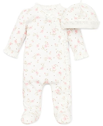 Little Me Baby Girls' Footie and Hat, Ivory Print, 3 Months