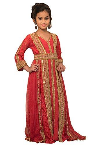 Kolkozy Fashion Kid's Moroccan Style Dress With Gold Handwork Kaftan Size 10-11 Years by Kolkozy Fashion