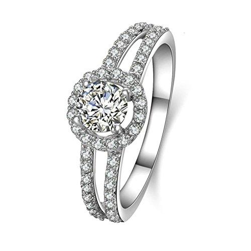 Daesar Wedding Band Zirconia Round Cubic Zirconia Ring Halo Ring 4-Prong Setting Ring Size 6.5 by Daesar
