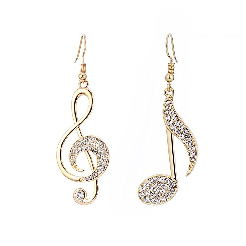 - BIRSTONE Dazzling Czech Rhinestone Treble Clef Music Note Eighth Note Fish Hook Dangle Earrings,Gold