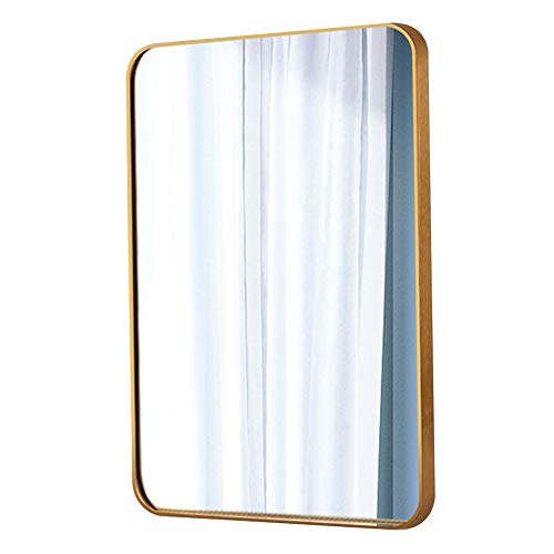 (Wall Mirror, Bathroom Mirror, Art Deco Mirror, Vanity Mirror, Rectangular Rounded Corners, Brushed Metal Border, Explosion-Proof Hd Silver Mirror, Gold,60x80CM)