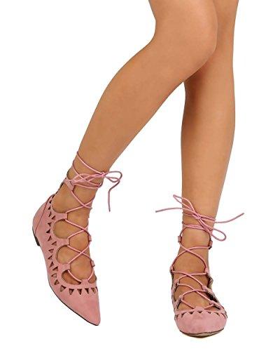 Liliana Eh22 Donna Falso In Pelle Scamosciata A Punta Smussata Allacciatura Alla Caviglia Con Laccetto Piatto - Rosa