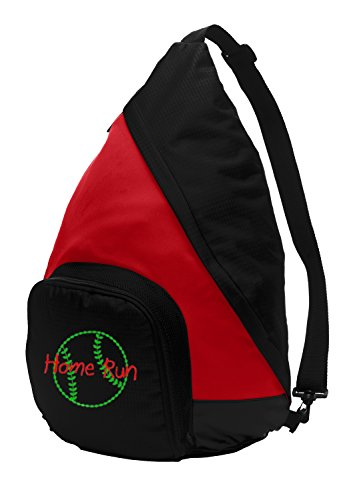 Active Sling Pack Backpack by All About Me Company | Personalized Softball Book Bag (True Red/Black) Review