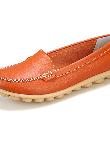 comfort Eu39 Mujer Eu40 cuero mocasines Cn39 Orange tacón Zapatos Uk6 Naranja Bermellón Caqui Blanco De us8 Plano Uk7 Orange Cn41 us9 Amarillo Zq negro Marrón casual UgwqXpxw