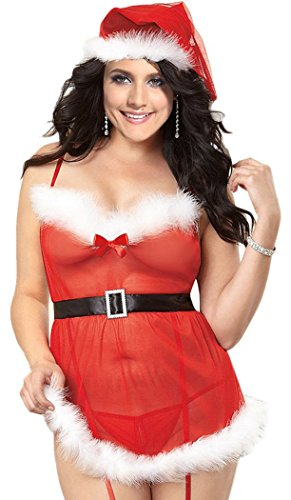 Christmas PEGGYNCO Womens Santa Baby 3pcs Plus Size Christmas Lingerie Costume(2XL) (Plus Size Sexy Santa Christmas Costume)