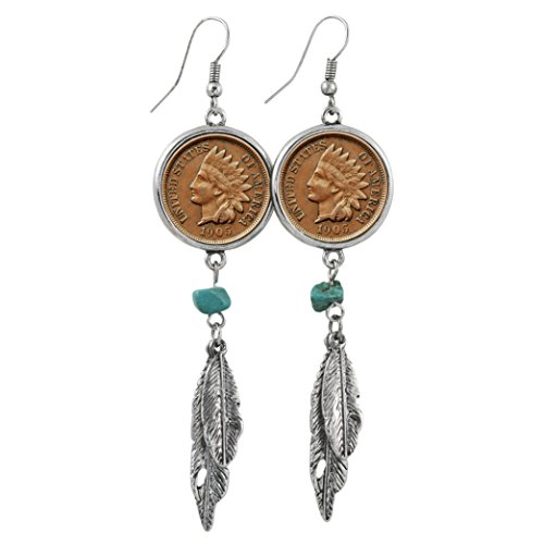 American Coin Treasures 100 Year Old Indian Head Penny Feather Silvertone Coin Earrings (Earrings Native Turquoise)