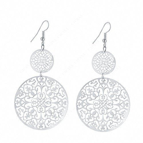 IDB Delicate Filigree Dangle Double Circle Drop Hook Earrings - available in silver and gold tones (Silver Tone) (Silver Chandelier Tone Filigree Earrings)