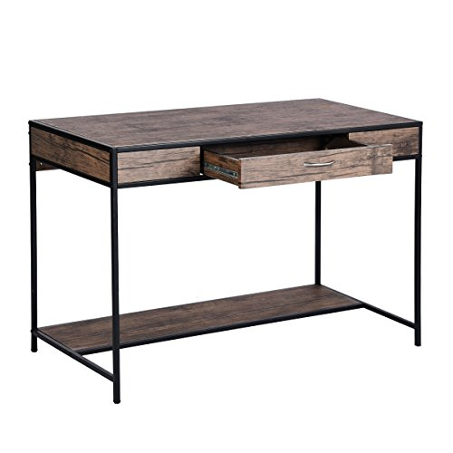 Oversized Wood And Metal Laptop Table: Large Industrial Writing Desk With Drawer Rustic Home
