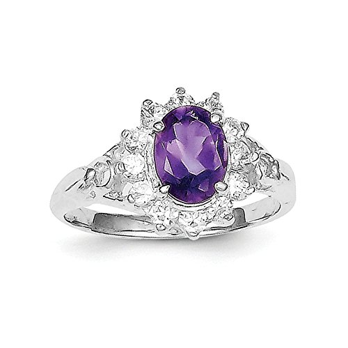 Sterling Silver Solid Polished Amethyst and Cubic Zirconia Ring - Size 6
