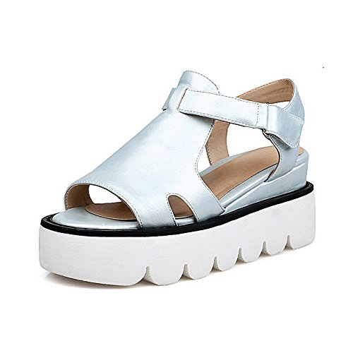 Blue Soft Hook Sandals and Women's WeenFashion Solid Loop Material Kitten Heels Toe Open q4xwXTB7