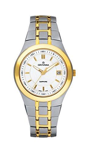 Grovana Men's Swiss Quartz Titanium Casual Watch, Color:Silver-Toned (Model: 1535-1122)