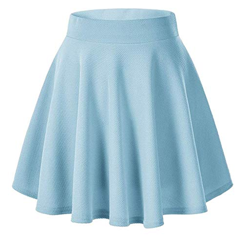 nikunLONG Sexy Mini Skirt Pleated Fashion Women's Solid Color Elastic Band Skirt Ball Gown Skirt Summer Party Dress Sky Blue ()