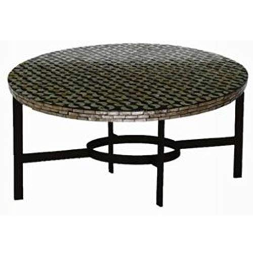 Metal Base End Table - End Table with Shell Inlay Top - Black
