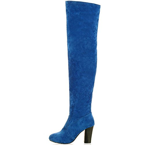 Knee Long Block the Blue Boots Heels High KemeKiss Women Fashion Above 6wZFCC4qE