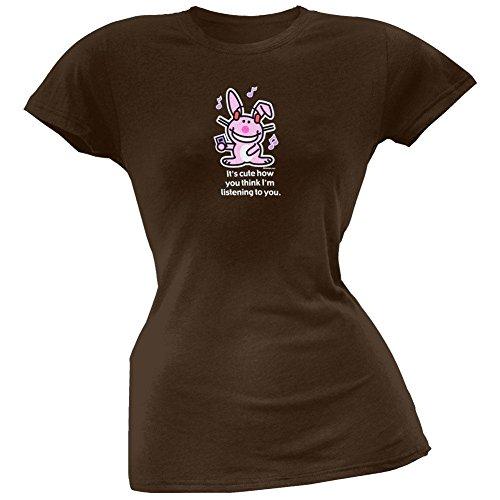 Happy Bunny - Cute Listening Juniors Brown T-Shirt - Large