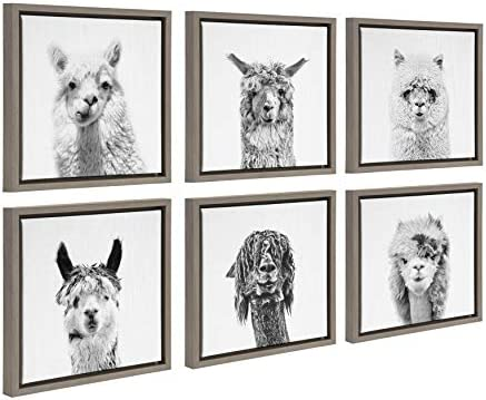 Kate and Laurel Sylvie Alpaca Portrait Framed Canvas Wall Art