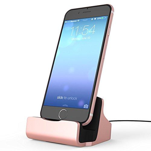 shenzoo® Dockingstation für Apple iPhone 5 5S 5SE 6 6S iPod in roségold