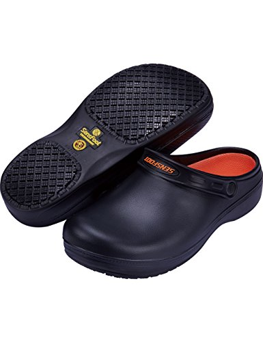 Athletic Clogs Slip (SensFoot Slip Resistant Chef Clogs Kitchen Non Slip Work Shoes(7 US Women))