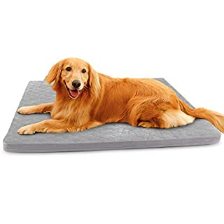 Large Dog Bed Mat Crate Pad Soft Pet Beds with Removable Cover Washable Anti Slip Pet Sleeping Mattress Grey, L
